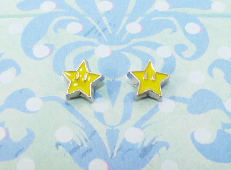 Tiny Yellow Star Earrings, mini studs inspired by super mario - product images  of