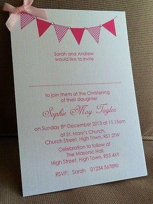 10 x Handmade Personalised Christening / Naming Day Bunting Invitations | eBay