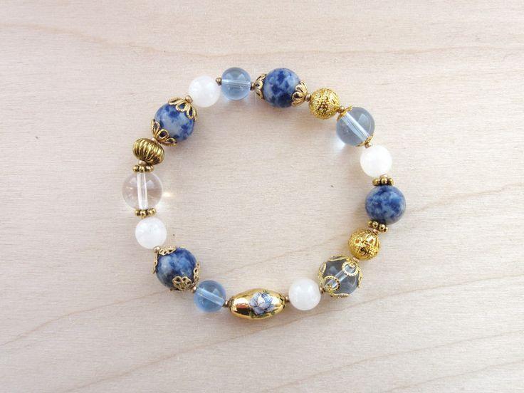 Armband blau-gold von Mädchenkram auf DaWanda.com