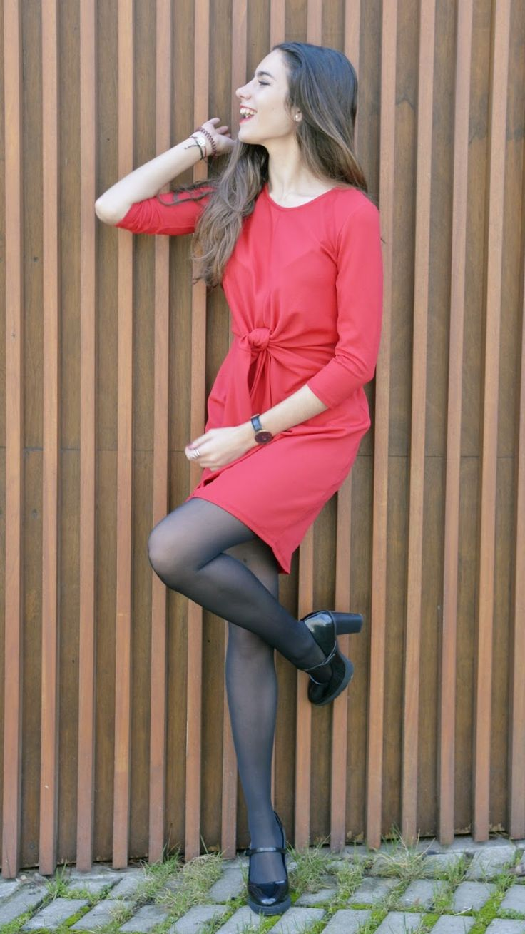 """ANY DAY OF RED -  As first seen on blog """"Un Dia Cualquira"""" here: ANY DAY OF RED  She is wearing tights similar here: Black Semi Opaque Tights High-tech meets nature with these innovative tights. Natural cupro fiber is combined with nylon and spandex for breathability and durability.  #tights #pantyhose #hosiery #nylons #tightslover #pantyhoselover #nylonlover #legs"""