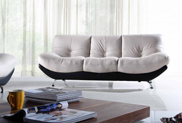 Modern suitable living room design idea white black white fabric covering couch sofa and brown wooden varnish finished low living room table and white fabric grommet curtains