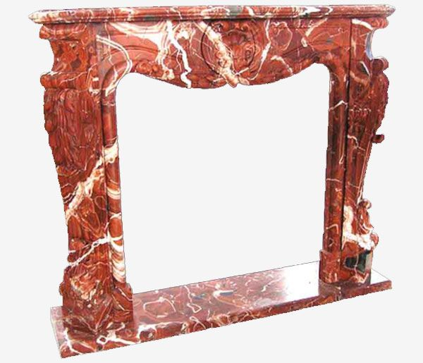 Caminetto in marmo rosso con la parte di ornato eseguita a mano molto semplice ed elegante nella parte frontale e con l'enfatizzazione dell'andamento curvilineo nella parte laterale che rendono questa cornice molto originale e ricercato.