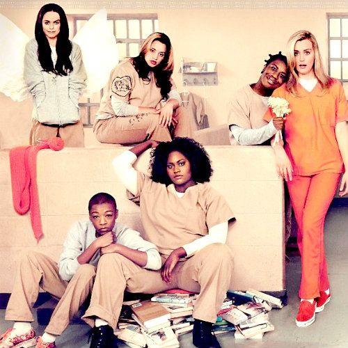 Orange Is The New Black: Pennsatucky / Tiffany Doggett, Daya / Dayanara Diaz, Crazy Eyes / Suzanne Warren, Piper Chapman, Poussey Washington, and Taystee / Tasha Jefferson.