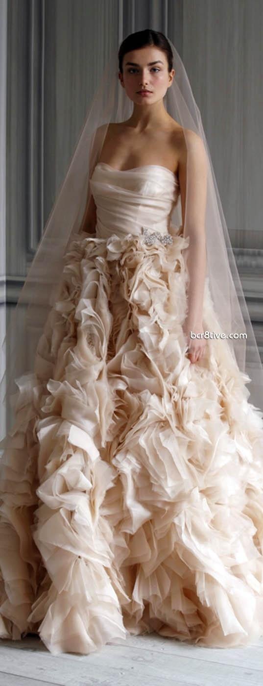 Pink frilly wedding dress