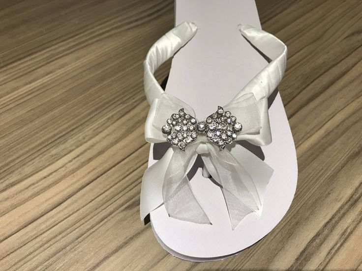 Excited to share the latest addition to my #etsy shop: Bow Flip Flop, Bridal Flip Flop, Bride shoes,Bridal Flat shoes, Beach wedding, satin sandals, diamante flip flop,wedding slippers, honeymoon