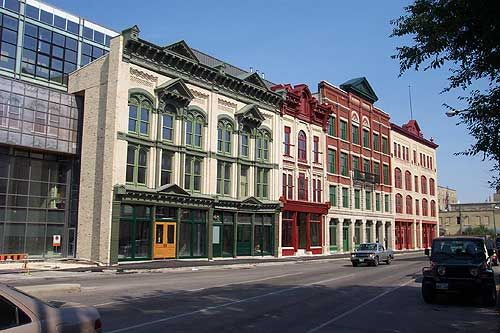 Walking by History in Winnipeg's Exchange District - Red River College downtown campus along Princess – actually the fronts of the Exchange Building II, Benson, and Bawlf buildings.