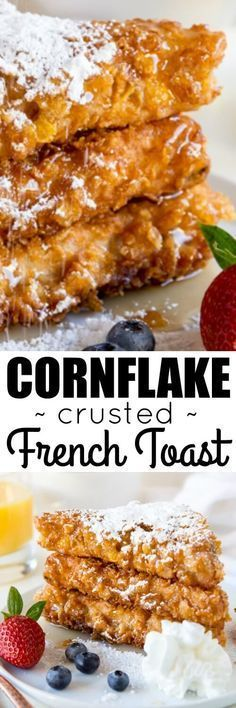 Cornflake Crusted French Toast! Texas toast dipped in thick cinnamon batter and cornflakes. That extra crunch is unbelievably addictive!