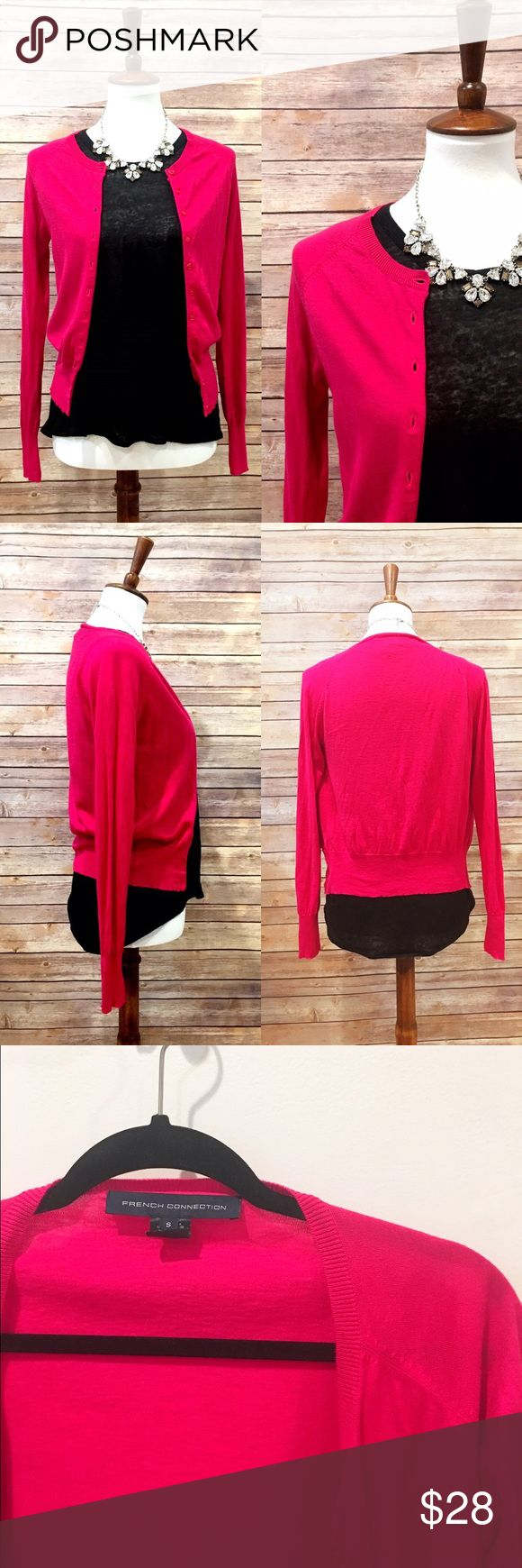 """French Connection lightweight pink cardigan Cute and lightweight cardigan from French Connection. No condition issues, gently worn. Cotton/viscose/wool. Length from shoulder is about 20.5"""". Armpit to armpit flat is about 17"""". French Connection Sweaters Cardigans"""