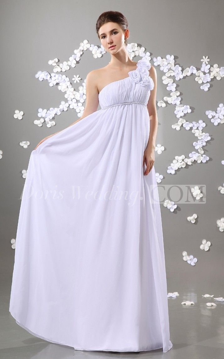 Floor Length One Shoulder Long Wedding Reception Dress With Flowers White For