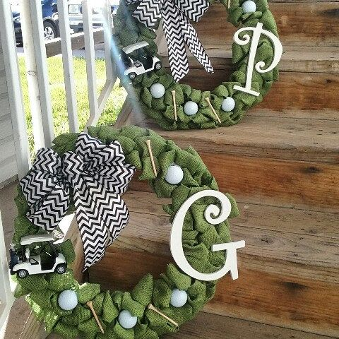 I just can't get enough of how cute this golfing wreath turned out! Get your golf equipment at Golf USA. www.golfusa.co.za