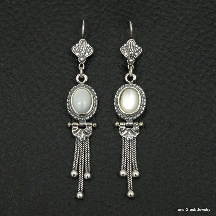 RARE NATURAL MOTHER OF PEARL 925 STERLING SILVER GREEK HANDMADE ART EARRINGS #IreneGreekJewelry #DropDangle