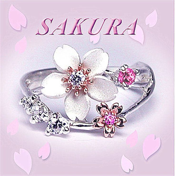 Details about Maiko Sakura Jewel Ring Sterling Silver x K10 Pink Gold Cherry Blossom JAPAN NEW