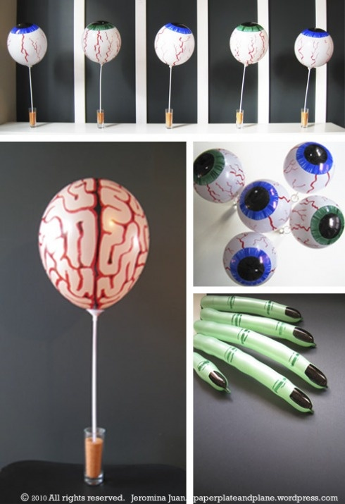 DIY gross body parts for science theme party using sharpies and balloons!