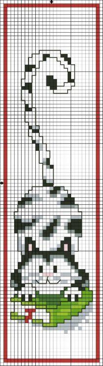 chat – cat – point de croix – cross stitch – Blog : http://broderiemimie44.canalblog.com/