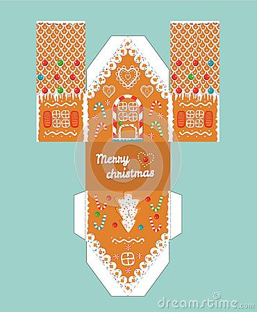 Printable gift gingerbread house with christmas glaze elements. Template for 3 d house. House 3 d Paper Craft.