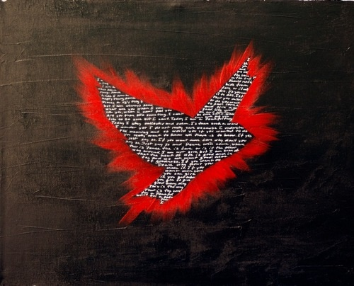 Miaaw.com PeaceBomb flying with Poetry  #art #artist #peacebomb #poetry #words