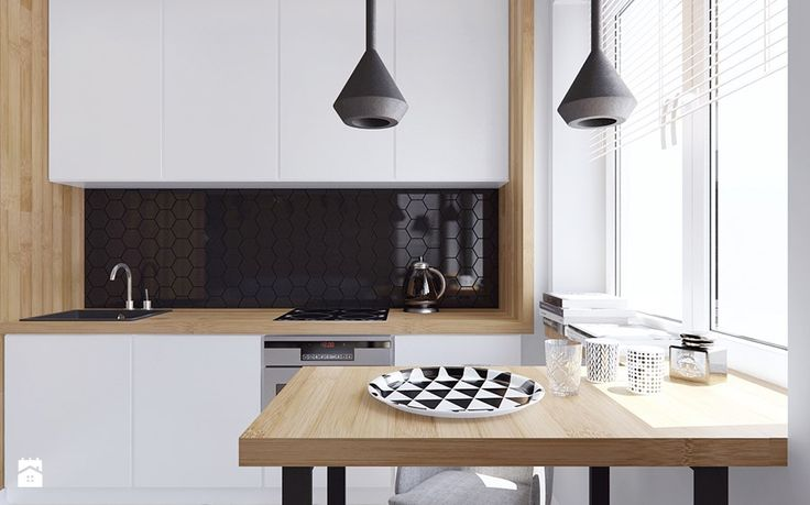 Mieszkanie z elementami drewna - Mała kuchnia, styl minimalistyczny - zdjęcie od Illa Design