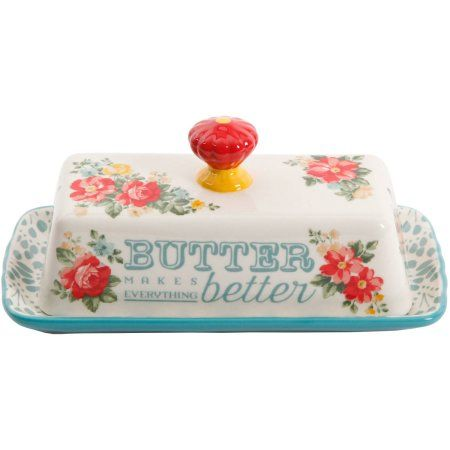 The Pioneer Woman Vintage Floral Salt and Pepper and Butter Dish Set Image 3 of 5