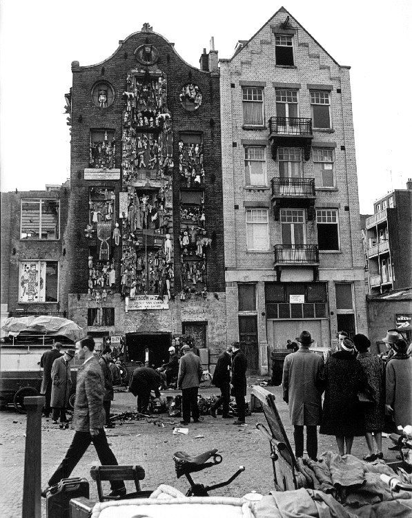1960 's. Facade with puppets  at the Waterlooplein in Amsterdam. #amsterdam #1960 #waterlooplein