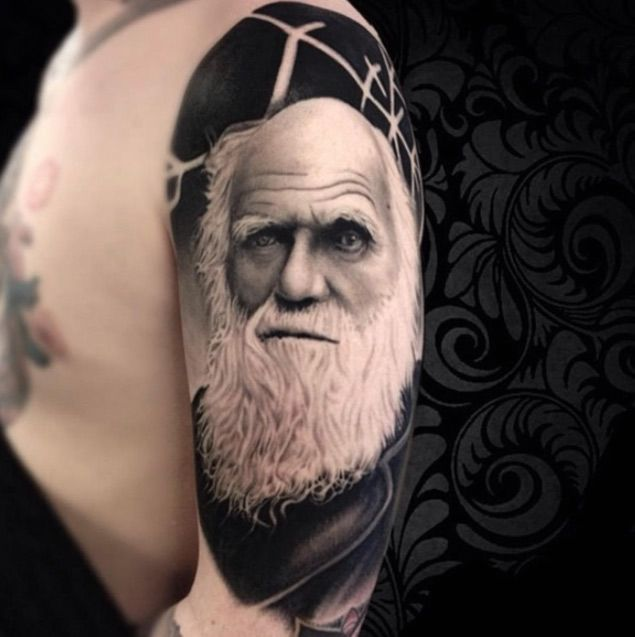 Charles Darwin Tattoo by Alex Spooky