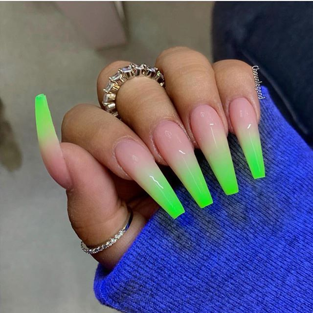 Neon Green Green Acrylic Nails Ombre Acrylic Nails Green Nails