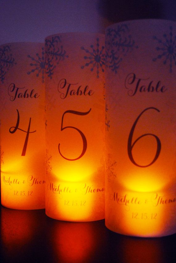 Set of 12 Wedding Table Number Winter by NatalieDesignStudio. You could also make these if you had the crafty skills...