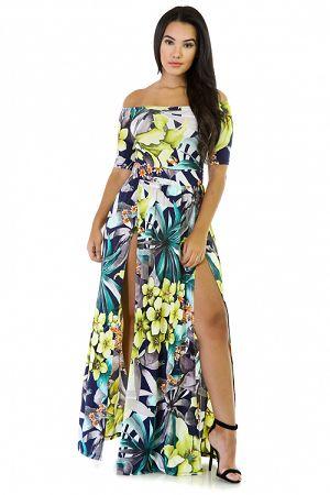 Keilani Floral Double Slit Dress