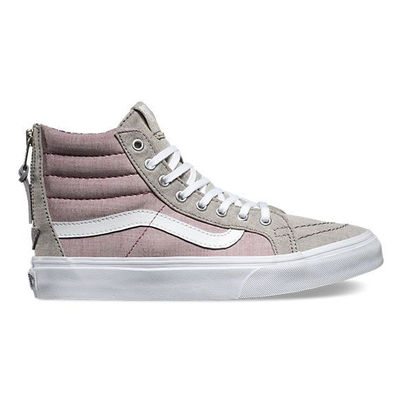 The Floral Chambray Sk8-Hi Slim Zip combines a slimmed down version of the legendary lace-up high top with a zipper entry at the heel, chambray uppers, signature rubber waffle outsoles, and padded collars for support and flexibility.