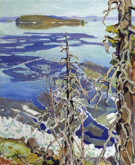 Akseli Gallen-Kallela (Finnish, 1865-1931), Jäiden Lähtö Ruovesi (Ice Breaking-up on Lake Ruovesi). Oil on canvas, 40.5 x 32.5 in.