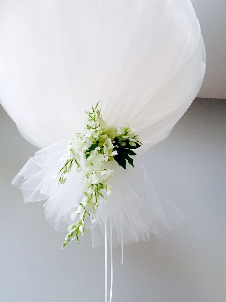 Tulle Balloon with beautiful Wisteria at the base...stunning!