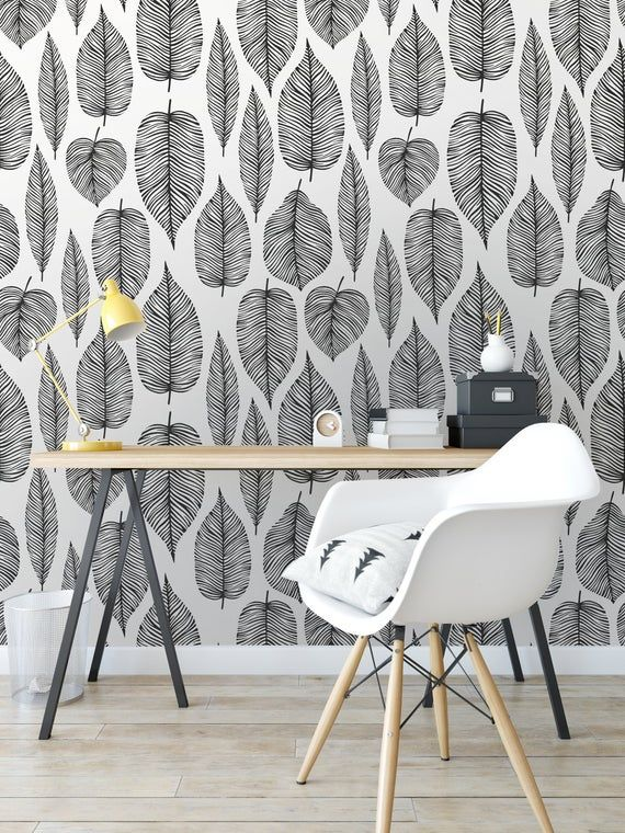 Black Decorative Leaves Wallpaper Self Adhesive Wallpaper Etsy Grey Wallpaper Bedroom Room Wallpaper Designs Pink And Grey Wallpaper