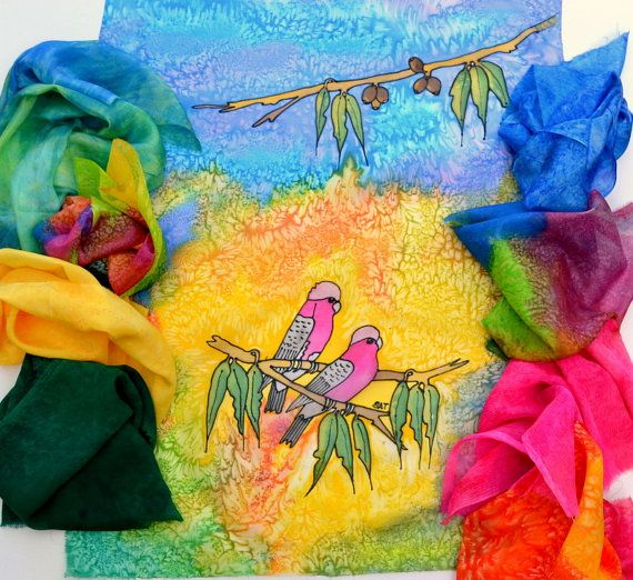 Hand dyed Silk Fabric Bundle Hand painted Bird by SallyAnnesSilks