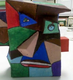 Picasso heads from cereal boxes