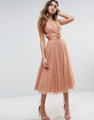 ASOS PREMIUM Tulle Midi Prom Dress With Ribbon Ties