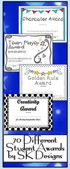 Awards for creative talents, character gifts, and academic excellence. 70 different editable awards in a variety of styles.