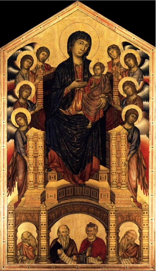 CIMABUE: Cimabue is considered the last Italian artist to be influenced by Byzantine art. In his tempera on wood known as Maestà of Santa Trinita, painted between 1280 and 1290, something is changing. The throne with its wide base where are the four prophets and a mighty Madonna resting her leg on the upper step of the throne, foreshadow the spatial experimentation his apprentice, Giotto, will become famous for. (Uffizi Museum, Florence)