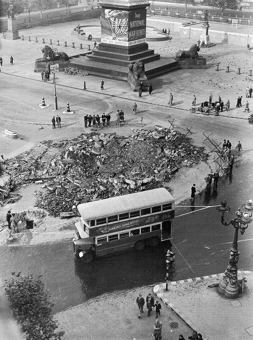 Bomb damage in Trafalgar Square. Second world war. 1940s