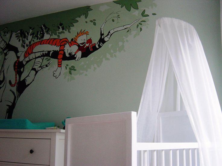 Casper en Hobbes | muurschildering | kinderkamer | www.groeneballon.nl | Den Haag