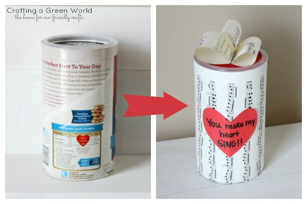 Valentine's Day Ideas: Turn an Oatmeal Container into an Eco-Friendly Gift Box (can be used for any occasion-- not just Valentine's Day)