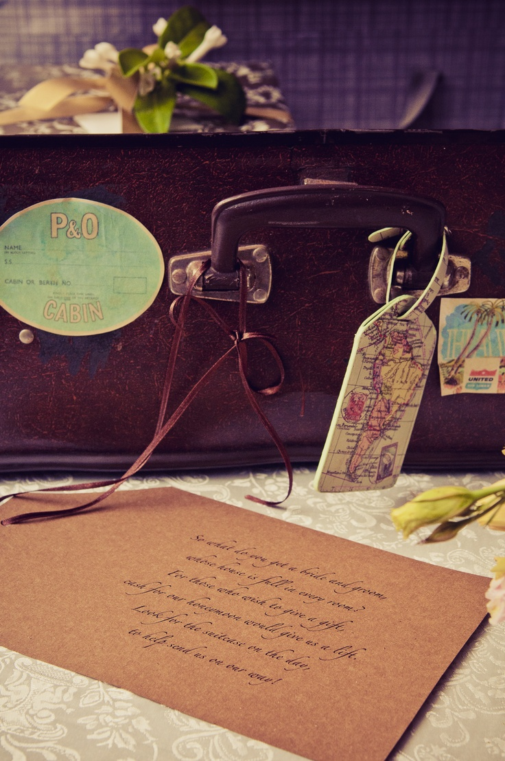 We bought an old suitcase from Good Sammies which we used for our gift station and as our 'wishing well' as per poem on the wedding invitation. I printed some retro travel tags, tea stained them and stuck them on using spray adhesive for a vintage look.