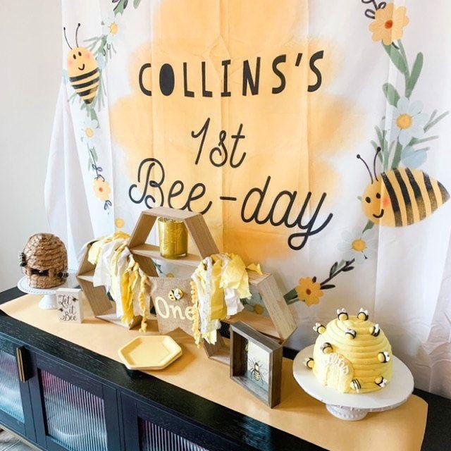 Happy Bee Day Birthday Decorations  Custom Honey Bee Birthday Decor Busy as a Bee  Bug 1st 2nd 3rd birthday  Bumble bee birthday