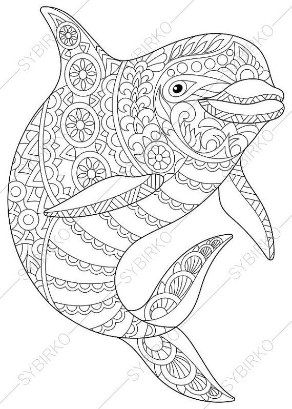 adult coloring page dolphin zentangle doodle coloring pages for adults digital illustration instant download print - Coloring Pages Whales Dolphins