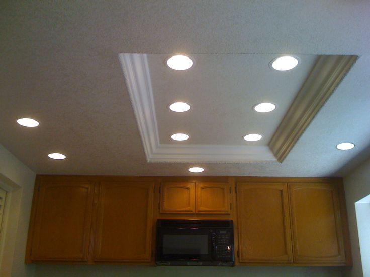 Good idea for replacing fluorescent light with recessed lighting in     Good idea for replacing fluorescent light with recessed lighting in a low  kitchen ceiling    For the Home   Kitchen   Pinterest   Ceiling  Kitchens  and