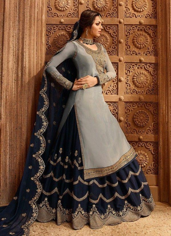 2aeea7e55f Grey And Navy Blue Dual Bottom Lehenga/Pant Kurti Set in 2019   Gharara  Suits Online   Lehenga, Dresses, Indian dresses