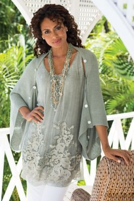 Maybe with some white silk or linen trousers…or black chiffon pants...Silk Sophia Tunic from Soft Surroundings