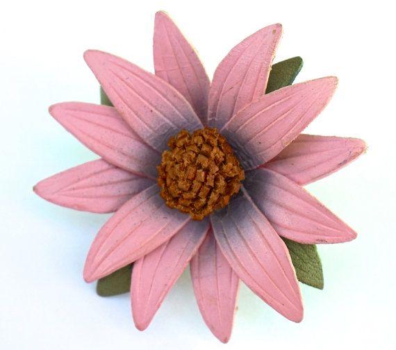 Vintage Leather Flower Brooch Pink Daisy Brooch by GimmeeDatBling