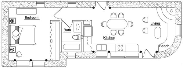 Small house floor plans less than 500 sq ft earthbag for House plans less than 500 sq ft
