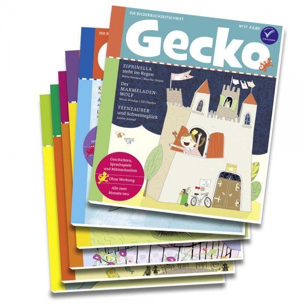 #Gecko #Kinderzeitschrift Jahres-Abo  Lesespaß für ein ganzes Jahr. Ein kindgerechter Türöffner in die Welt der Bücher, intelligent, einfühlsam und ganz ohne Werbung – das war unser Traum von einer Zeitschrift für Vorschulkinder, den wir im September 2007 mit der Veröffentlichung der ersten Gecko-Ausgabe verwirklicht haben. Heute sehen wir die Bilderbuchzeitschrift auch als eine Art Kontrapunkt zu den modernen Medien: Gecko lädt Kinder ein, in die Inhalte zu versinken und zu fokussieren.