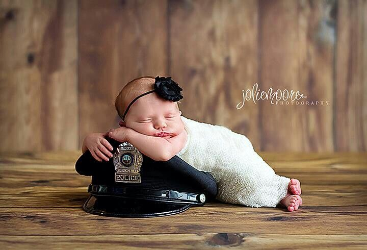 Newborn police photo idea, Police hat, Police newborn! Love this! Thanks  @Nicole Lynn