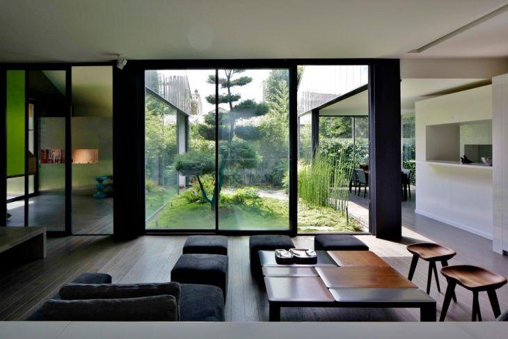 Black Zen Living Room Outer Backyard